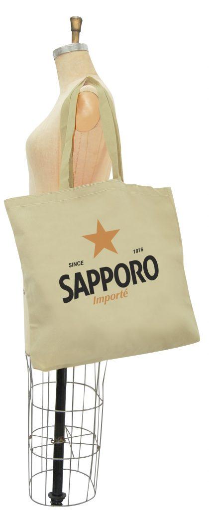 Sac en cotton naturel imprimé du logo de la bière Sapporo