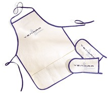 Custom white aprons made by Tex-Fab