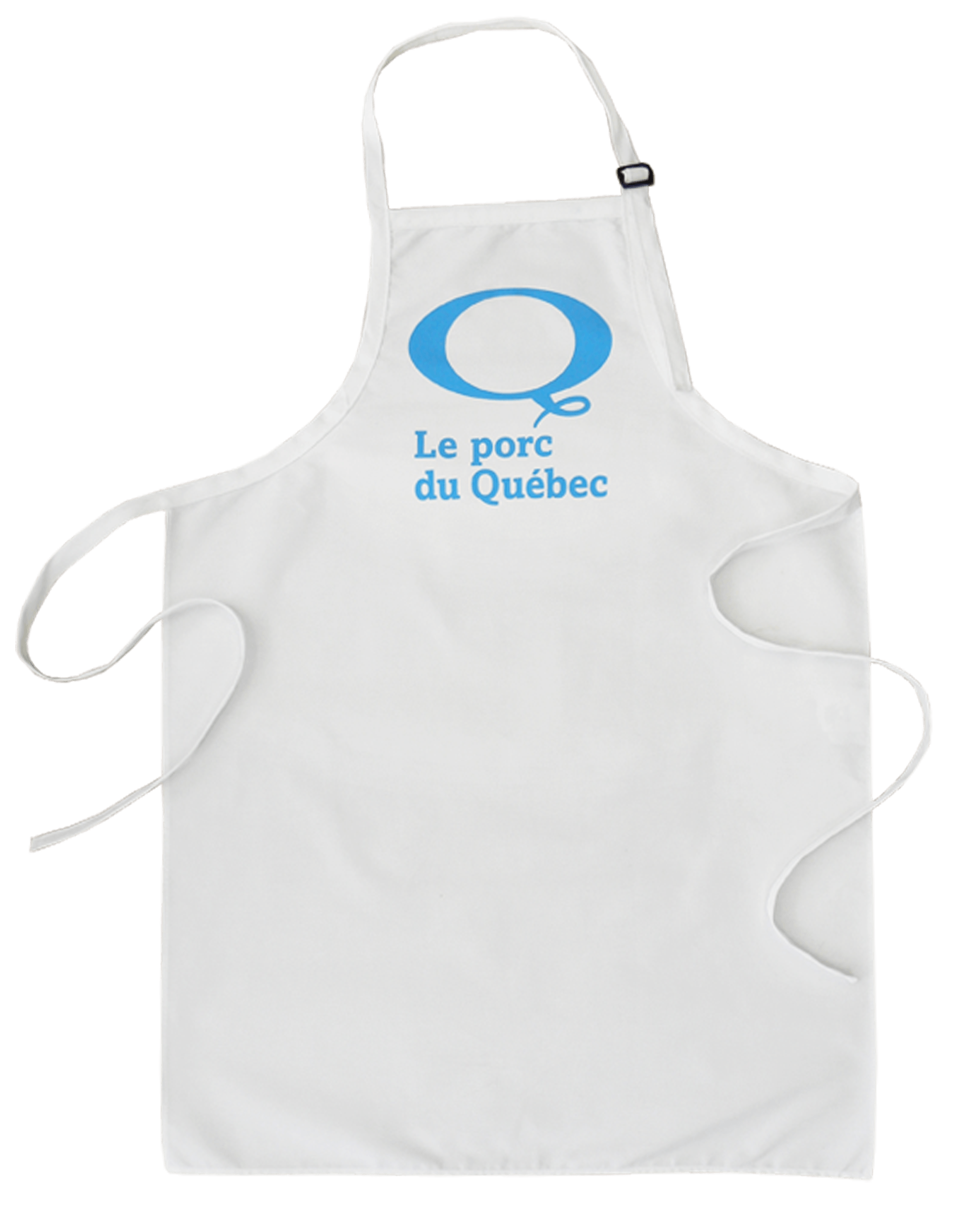 "Custom white aprons ""Le porc du Québec"" made by Tex-Fab"